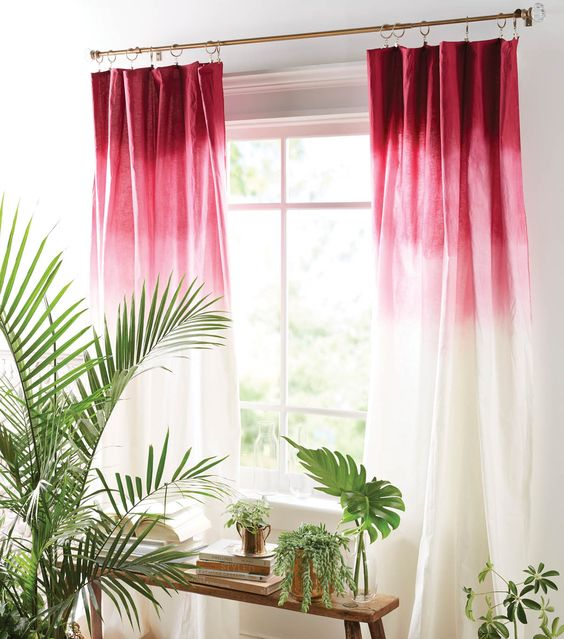 ombre curtains from deep red to pink and white is a cool color touch that can be DIYed
