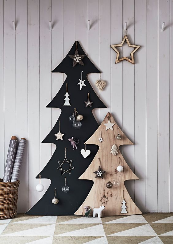 such plywood Christmas trees don't take much floor space, they are a great alternative to usual ones
