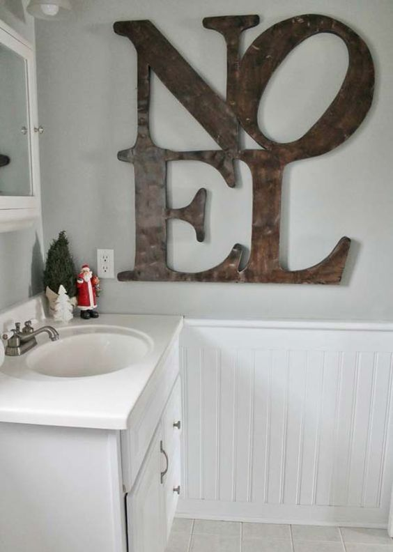 add large plywood letters to the wall and voila - you won't need more than that
