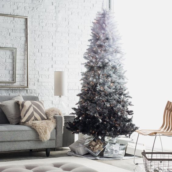 if you want a monochromatic Christmas tree, rock an ombre one from white to silver and black and add lights for a modern look