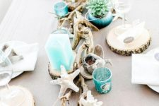 26 style your table with succulents in turquoise pots, turquoise candles and candle holders, star fish and driftwood