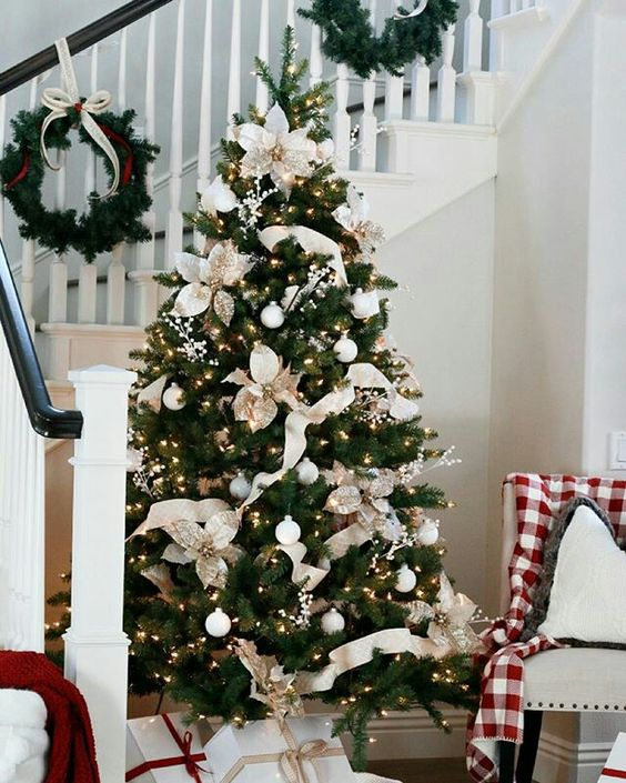 a glam Christmas tree with lights, white ornaments, gilded fabric flowers and white ribbons is a very chic idea