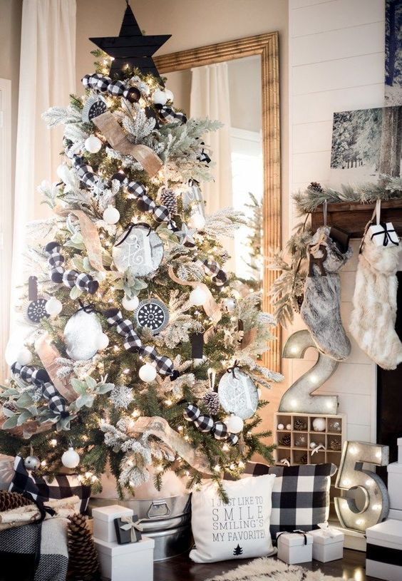 a monochromatic Christmas tree with black and white ornaments, lights, plaid and burlap ribbon for a rustic touch