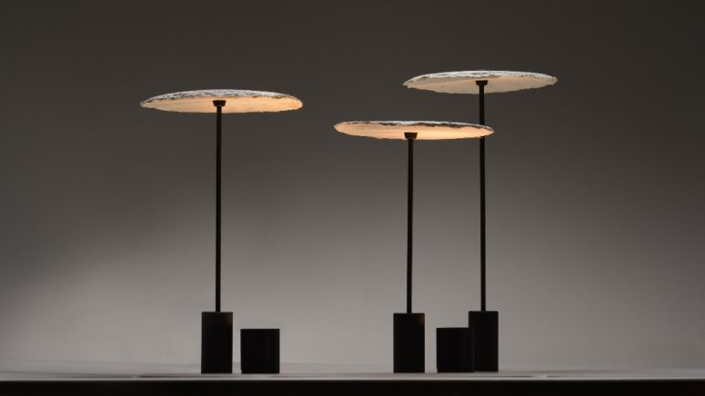 These lamps are inspired by fungi and are produced using mycelium as a material