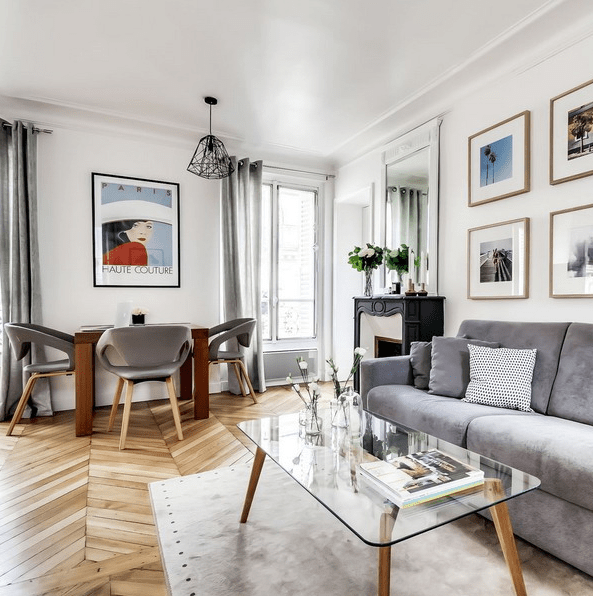 This small apartment in Paris is done in minimalist style and with traditional French chic plus Scandinavian aesthetics