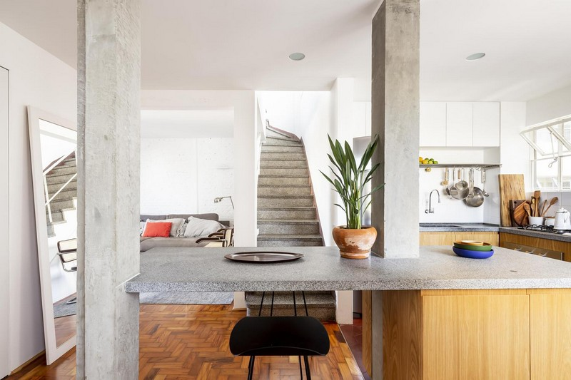 The house is renovated in contemporary style adding industrial touches here and there   concrete, metal, brick and others