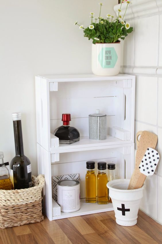 simple white Knagglig boxes attached to each other and placed on the table as an easy storage unit