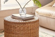 02 such a wicker coffee table and ottoman features a storage space inside and is great for many living rooms