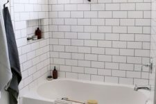 02 white tiles – subway ones on the walls and hex penny tiles on the floor for a soothing and calming look