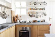 wooden kitchen with gorgeous minimalist concrete countertops