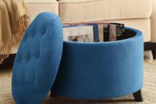 03 an upholstered storage ottoman can double as a coffee table and is a smart option for a contemporary space