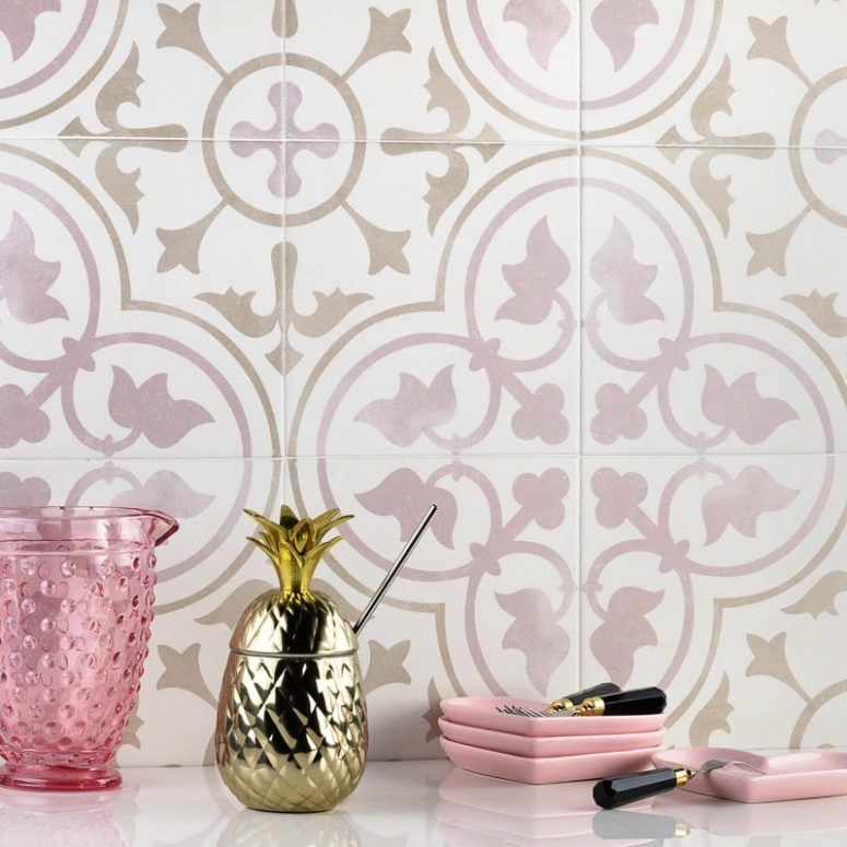 Bella features a floral and petal pattern in pink and is great for girlish spaces