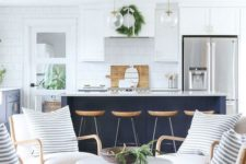 interesting, bright kitchen design with a large island