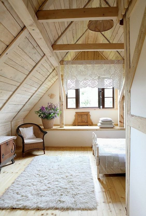 light-colored wood can be also a nice idea to substitute neutrals, add vintage touches for more coziness