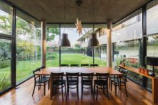 indoor dining zone that looks like an outdoor one