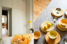 05 Yellows are integrated into the apartment decor everywhere, in each room