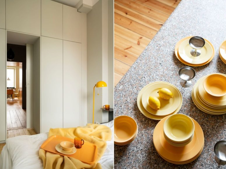 Yellows are integrated into the apartment decor everywhere, in each room