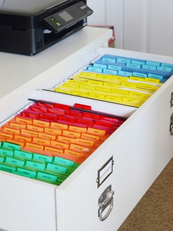 choose a large drawer or several ones to accommodate your filing system and make it colorful for more comfortable using