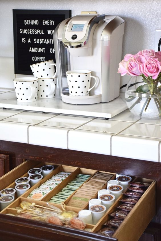 if your rental doesn't have a kitchen, make a coffee station or a drink cart to make your guests happy