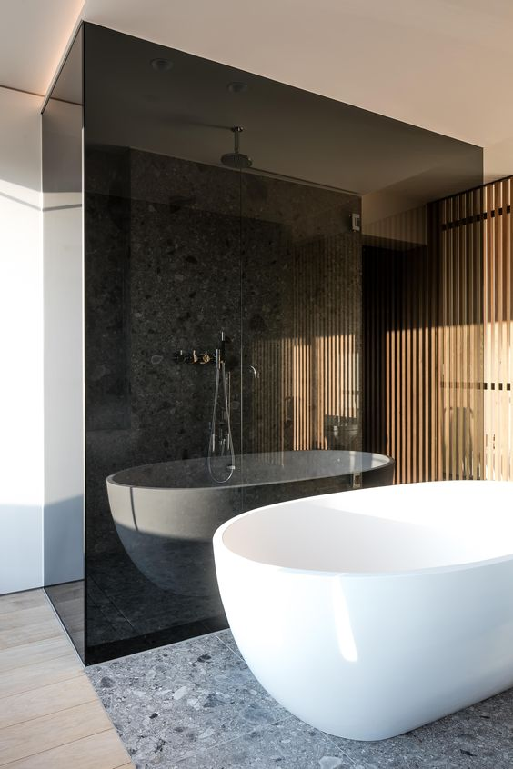 a contemporary space with a shower enclosed in smoked glass makes it separated and bolder