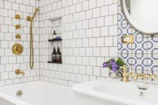 06 neutral tiles – square ones and penny hex tiles plus an accent with blue and white mosaic tiles over the sink