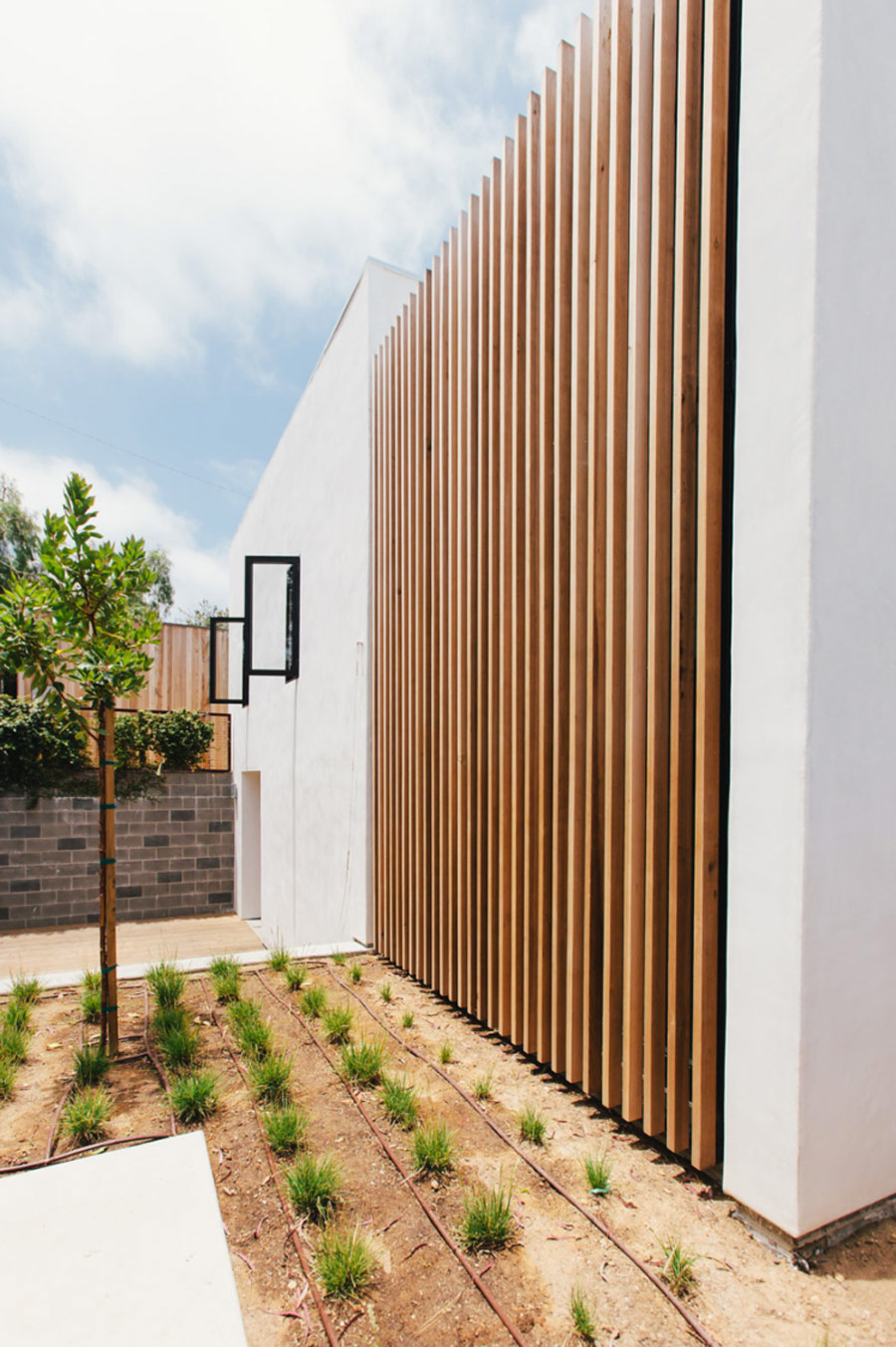 Outside the house is done in white and clad with wood, there's minimalist landscaping