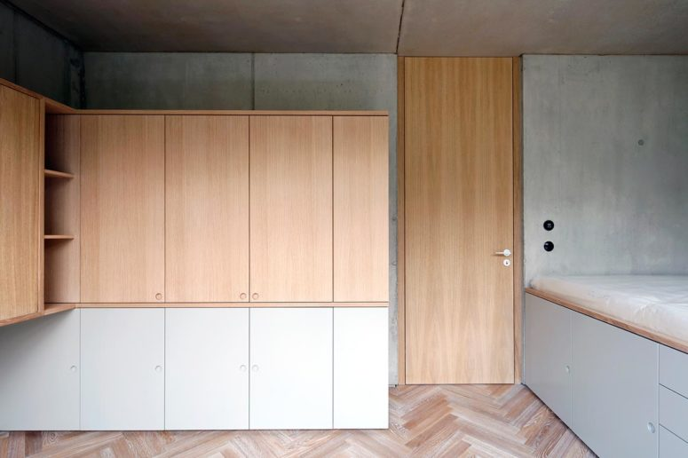 The storage is hidden behind the doors of the cabinets