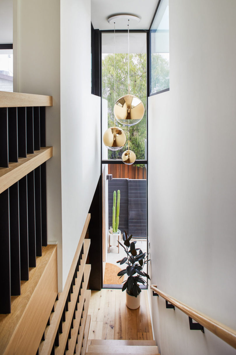 There a large skylight on the stairs to fill the space with light