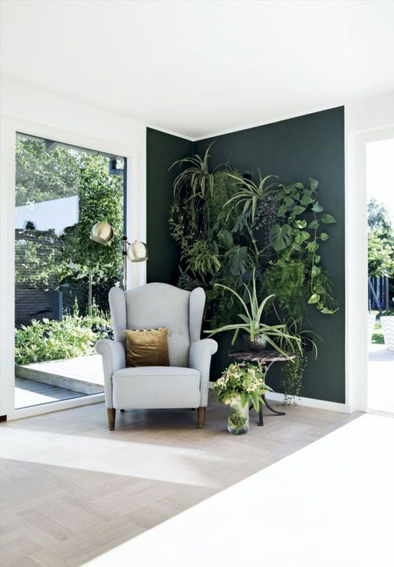 a dark green statement wall with lots of fresh potted plants and a little chair to make up a cozy nook