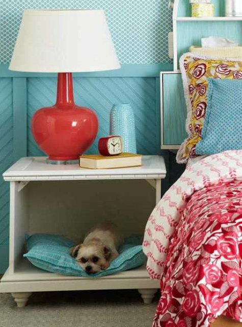 a simple bedside table with taken away drawers and a pet space instead to let your dog sleep by your side