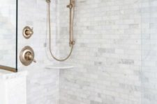 08 grey marble tiles – square ones on the walls and penny hex tiles on the floor create a chic and neutral combo for a bathroom