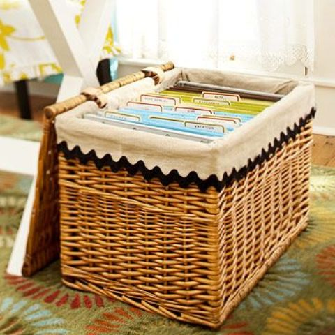 if you don't have many papers, take a comfy basket and fill it with your filing system then closing it
