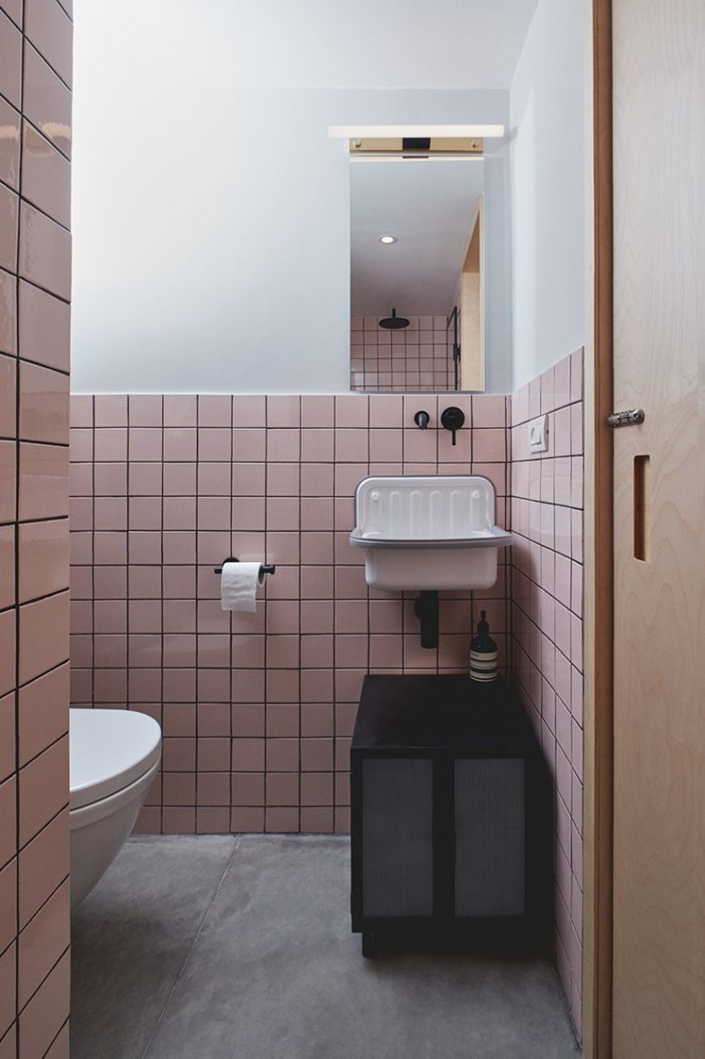 The same tiles are used in the second bathroom but in pink to make it a bit different