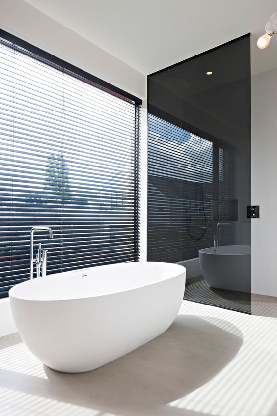 a smoked glass toilet door gives privacy and doesn't clutter the space too much