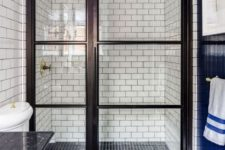 cool black and white walk-in shower design