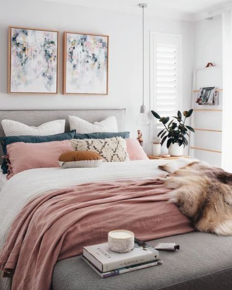 infuse your bedroom with color easily   add dusty pink bedding elements for a cute touch