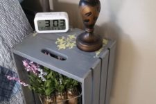 11 a grey bedside table of a Knagglig box placed on legs is a very vintage-like option