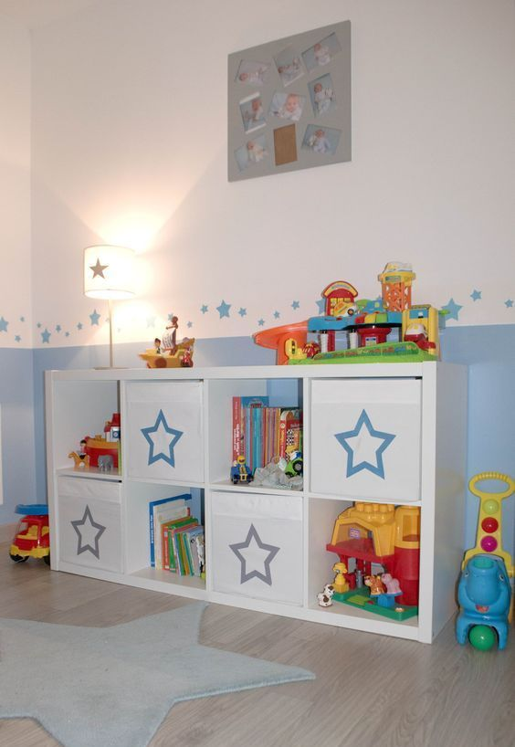 a kid's sideboard with Drona boxes marked with pretty stars is a cute idea