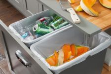 12 a built-in cutting board and some storage containers will help you declutter the space