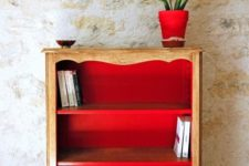 12 upcycle your vintage sideboard with red paint inside and it will completely change your space