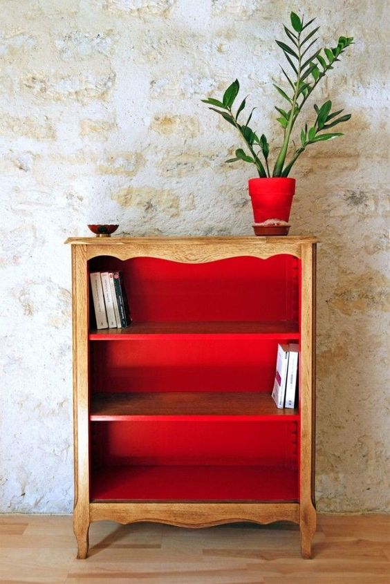 upcycle your vintage sideboard with red paint inside and it will completely change your space