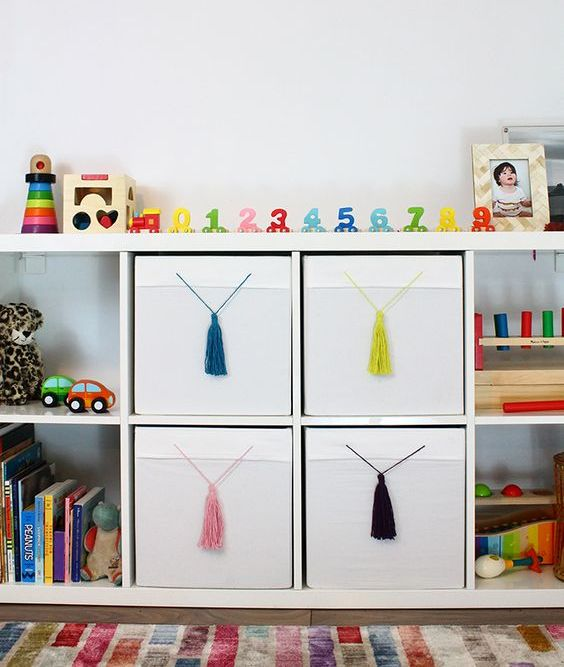 a simple IKEA Hack - add tassels to your plain drona boxes to give them a colourful pop and flair