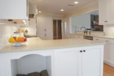 14 a kitchen cabinet with an integrated dog bed – just remove the doors and place something soft