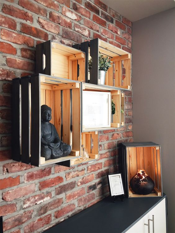 a simple rustic storage wall unit made of Knagglig boxes attached to each other is a very fast DIY