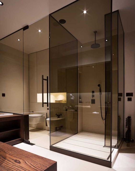 separate the shower with smoked glass doors from the rest of the bathroom to make it a bit divided