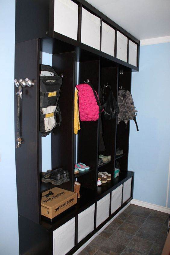 an Expedit mudroom locker with Drona boxes looks stylish, sleek and is comfy in using