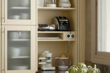 16 a built-in shelving unit can be opened or hidden whenever you want it
