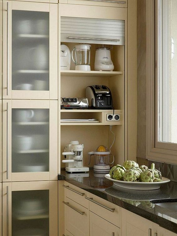 a built in shelving unit can be opened or hidden whenever you want it