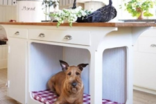 16 a kitchen island with a dog bed that is built-in is a cool way to let your pet be around without preventing you from cooking