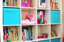 16 an Expedit shelving unit finished off with colorful IKEA Drona boxes for closed storage